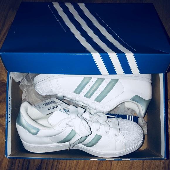 NIB Adidas Superstar Blue Holographic Stripe Boutique